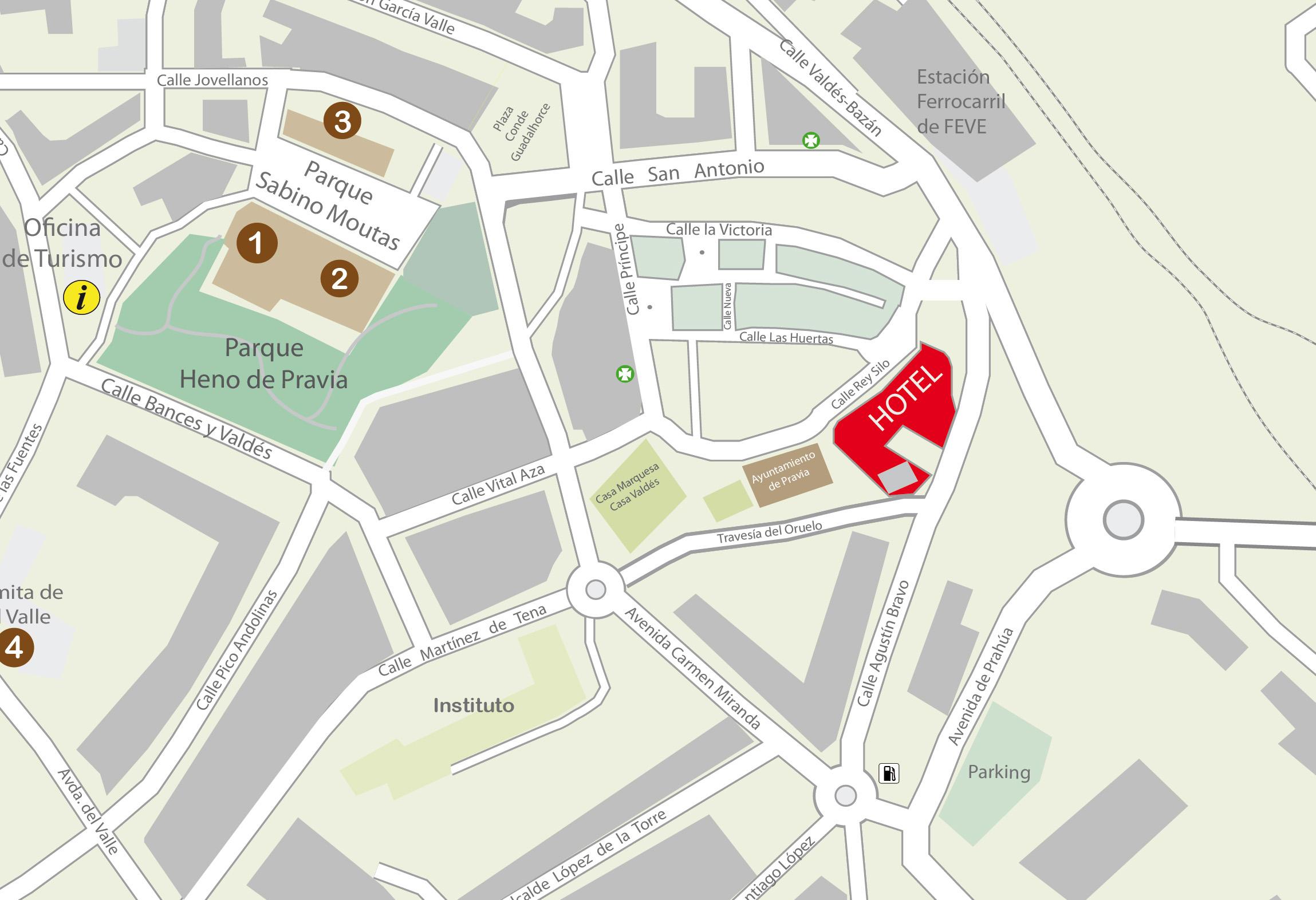 Plano Hotel Casona del Busto aparcamiento